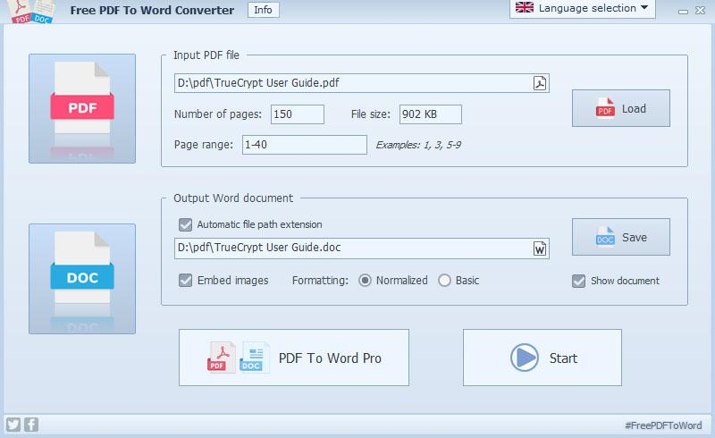 Free PDF To Word Converter full screenshot